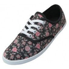 Wholesale Footwear Women's Black Floral Printed Canvas Shoes