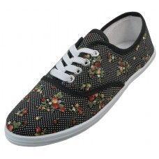 Wholesale Footwear Women's Polka Dot Ditsy Floral Printed Canvas