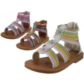 Wholesale Footwear Girl's Gladiator With Back Zipper Sandals