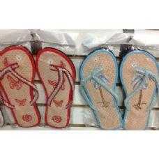 Wholesale Footwear Ladies Floral Design Bamboo Flip Flop