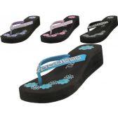 Wholesale Footwear Women's Printed Floral Wedge Rhinestone Look Flip Flops