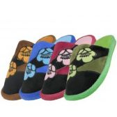 Wholesale Footwear Women's Satin Floral Printed Plush Upper Close Toe Slippers