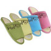 Wholesale Footwear Women's Open Toes Tea Cup Embroidered House Slippers