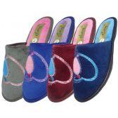 Wholesale Footwear Women's Velour Sequin Heart Shape Slippers