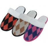 Wholesale Footwear Women's Leather Suede Patch Diamond Pattern With Cuff Slippers.
