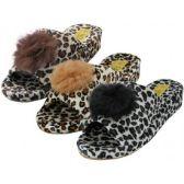 Wholesale Footwear Women's Satin Velour Leopard Print Upper Open Toe House Slippers