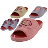 Wholesale Footwear Women's Satin Lip Kiss Cherry Embroidery Upper Close Toe House Slippers