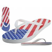 Wholesale Footwear Men's Us Flag Printed Rubber Thong Sandals