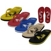 Wholesale Footwear Men's Dragon Embossed Thong Sandals