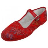 Wholesale Footwear Women's Brocade Mary Jane Shoes ( Red Color Only)