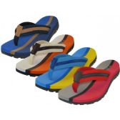 Wholesale Footwear Men's 2 Tone Color Fabric Thong Sandals