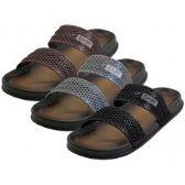 Wholesale Footwear Men's 2 Strip Upper All Rubber Soft Sandals