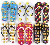 Wholesale Footwear Women's Flip Flops - Emoji Prints