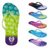 Wholesale Footwear Women's Flip Flops With/ Dual Layer Heel & Sparkle Straps - Apple Print