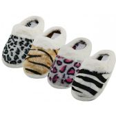 Wholesale Footwear Women's Close Toe Plush Animal Print Upper With Faux Fur Cuff House Slippers