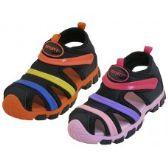 Wholesale Footwear Children's Rainbow Stripe Upper Velcro Sandals