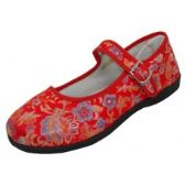 Wholesale Footwear Women's Satin Brocade Upper Mary Janes Shoe - Red Color Only