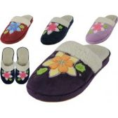 Wholesale Footwear Women's Velour Floral Embroidery Upper Close Toe House Slippers