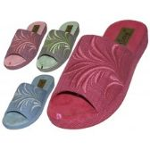 Wholesale Footwear Women's Satin Open Toes Floral Embroidery Upper House Slippers