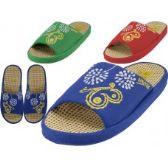 Wholesale Footwear Women Satin Open Toe Flower Embroidery Upper House Slippers