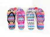 Wholesale Footwear Womens Flip Flops Zigzag Print With Glittering Straps