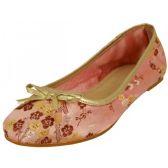 Wholesale Footwear Women's Satin Brocade Ballet Flat Shoes In Pink Color