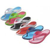 Wholesale Footwear Women's Soft Comfortable Sport 2 Tone Colors Rubber Thong Sandals