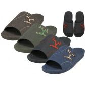 Wholesale Footwear Men's Satin Open Toes Slippers With Antler Embroidered Upper House Slippers