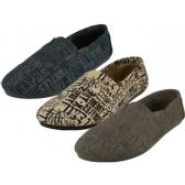 Wholesale Footwear Men's The Most Comfortable Slip On Casual Canvas Shoes Assorted Letter Print