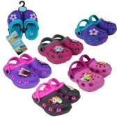 Wholesale Footwear Toddler Girl's Two-Tone Clogs w/ Flower & Unicorn Patches