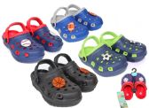 Wholesale Footwear Toddler Boy's Two-Tone Clogs w/ Sports Patches