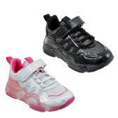 Wholesale Footwear Girl's Breathable Sneakers w/ Adjustable Strap & Elastic Laces
