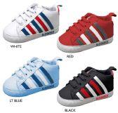 Wholesale Footwear Infant Boy's Sneakers w/ Elastic Laces & Stripe Details